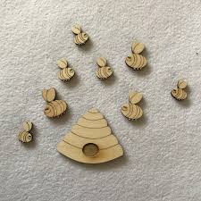 wood craft shapes beehive and bees