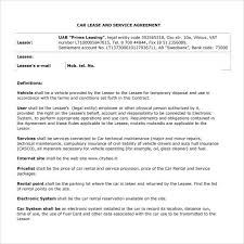 Vehicle Lease Agreement Sample Sample Vehicle Lease Agreement Template 12 Free Documents In Pdf