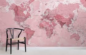 pink world map maps room wall murals