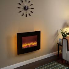 essential fireplaces curved black glass 25 inch wall mounted electric fire