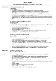 Sample Activities Resume Activities Coordinator Resume Samples Velvet Jobs 12
