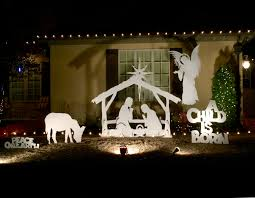 a white silhouette outdoor nativity scene is a great option they are beautiful both in daylight and at night with some basic outdoor lighting