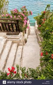 flourishing garden. Walking Path Through A Flourishing Garden Of Red Flowers At Sunny Seaside In Greece