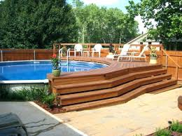 T Oval Pool With Deck Above Ground Plans Decks