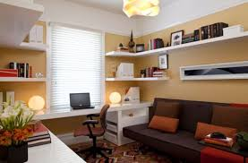 hip white corner modern wall shelves for storage over white laptop office desk also brown sleeper couch as decorate small space boys room ideas