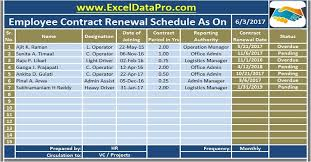 This is the employment contract template download page. Download Employee Contract Renewal Schedule Excel Template Exceldatapro