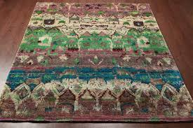 rugsville ikat green sari silk rug 8 x 10
