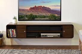 Furniture:Decorating Living Room Using Stylish Floating Media Cabinets Mid  Century Living Room With Dark