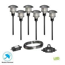 Portfolio Low Voltage Landscape Audio Path Lighting Low Voltage Black Outdoor Integrated Led Landscape Path Light 6 Pack Kit