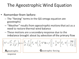 1 the ageostrophic wind equation remember