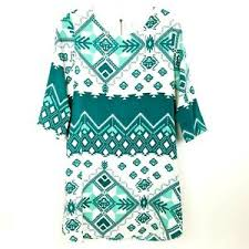 Everly Womens Shift Dress 3 4 Sleeve Teal White Ethnic