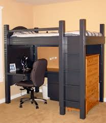 bold black wooden loft bed with desk design with brown swivel chair and wooden floor and