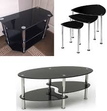 cara black glass coffee table tv stand nest tables