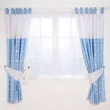 image of blue baby curtains for nursery