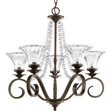 progress lighting bliss 5 light antique bronze glam clear glass shaded chandelier
