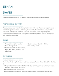 Best Manufacturing Technician Resumes Resumehelp