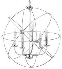 5 light modern sphere orb chandelier chrome finish