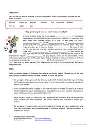 writing an opinion essay worksheet esl printable worksheets  writing an opinion essay full screen