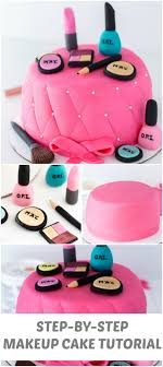 an easy beautiful and chic makeup cake with step by step directions and pictures on how to make this makeup cake for any birthday celebration