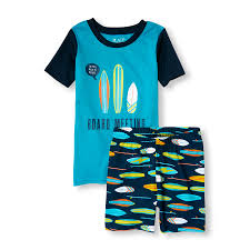 boys sleepwear the children s place off boys short raglan sleeve board meeting top and surfboard print shorts pj set
