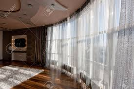 Net Curtains For Living Room Wide Angle View Of Panoramic Window With Net Curtain In Modern