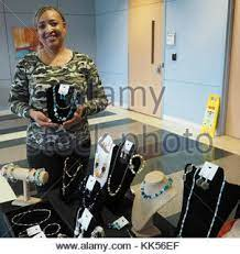 Can somebody say bling! Army Veteran Debra Farley makes her crafts shine in  jewels and stones Stock Photo - Alamy