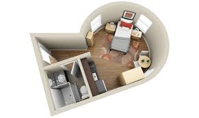 Dplanscom - Studio apartment floor plans 3d