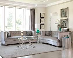 Velvet Living Room Furniture Sleek Silver Gray Grey Velvet Sofa Loveseat Living Room