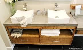 diy floating bathroom vanity. diy floating bathroom vanity with concrete countertops and vessel sink. clean modern style diy r