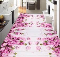 Mooie Roze Bloemen 3d Vloertegels Foto Vloer Behang 3d