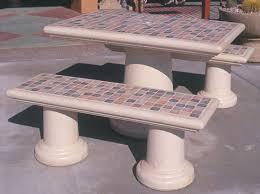 Tiled Rectangular Outdoor Concrete Tables ...