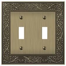 hampton bay bleinhem 2 toggle wall plate brushed brass cast