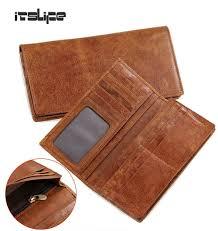 men new genuine leather long bifold wallet card case cash receipt holder purse men wallets leather designer money clip