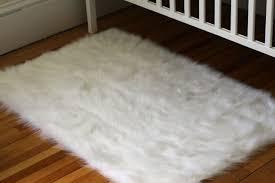 white fluffy rug for nursery