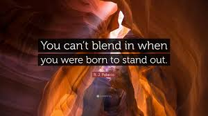 """Stand Out Quotes Custom R J Palacio Quote """"You Can't Blend In When You Were Born To Stand"""