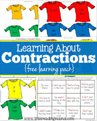 Contraction Chart Grammar Free Contraction Printables