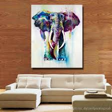 2018 1peices wall canvas art modern elephant painting living room wall decor pictures hand painted nice animal oil painting no framed from