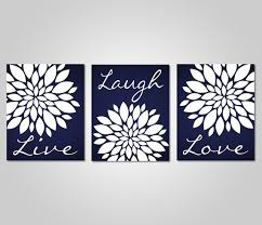 Kna Interior Design Fascinating Navy Blue Flower Wall Art Live Laugh Love Bedroom Etsy