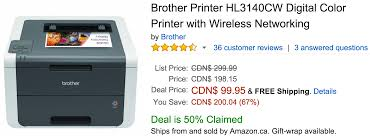 Amazon Canada Deals Save 67 On Brother Printer Hl3140cw Digital