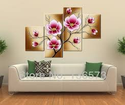 handmade bright pink flower oil painting large canvas art cheap modern abstract 4 piece wall art set home decoration in painting calligraphy from home  on 4 piece wall art set with handmade bright pink flower oil painting large canvas art cheap