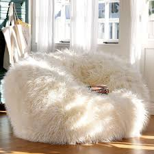 Adorable White Fur Bean Bag Chair For Teen Girl : Extraordinary Cute ...