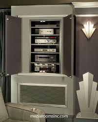 Media Closet Design High End Home Theater Showing Hidden Equipment Closet