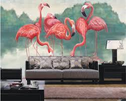 Beibehang Custom 3d Behang Flamingo Handgeschilderde Achtergrond