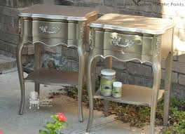 diy metallic furniture. modern masters nickle u0026 champagne metallic paint on french nightstands by vintage charm restored diy furniture t