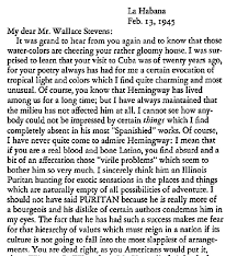 al filreis  here s part of a letter jose rodriguez feo wrote to wallace stevens the two had not met yet at this point their relationship entirely epistolary except