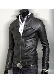 men s slim fit black faux leather biker style jacket