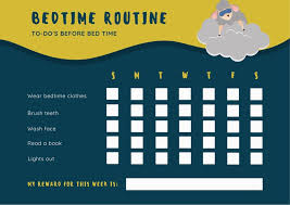 Editable Bedtime Routine Chart Yellow And Green Bedtime Routine Reward Chart Templates By