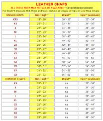 Chaps Size Chart Jamin Leather