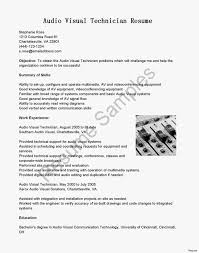 Audio Visual Technician Resume Sample Best Of Download Audio Visual