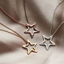 personalised open star necklace posh